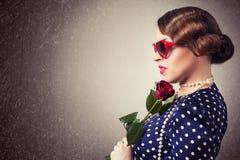 Portrait of retro woman Stock Photography