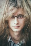 Portrait Of Rock Star Young Man Guy With Glasses Royalty Free Stock Photography