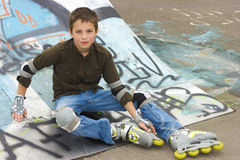 Portrait of roller-skater in protection. Kit Royalty Free Stock Photography