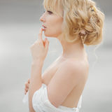 Portrait of romantic blond woman white dress Royalty Free Stock Images