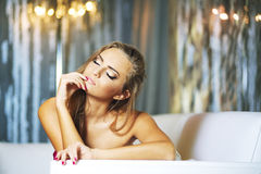 Portrait of romantic blond young woman Stock Image