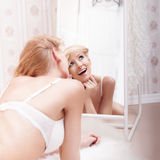 Portrait of romantic blonde woman. Stock Photo