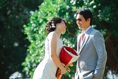 Portrait of romantic bride and groom Stock Photo