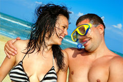 Portrait of romantic couple on the beach Royalty Free Stock Image