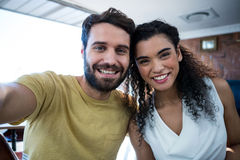 Portrait of romantic couple. In coffee shop royalty free stock photography