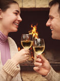 Portrait of a romantic couple toasting wineglasses Royalty Free Stock Photo