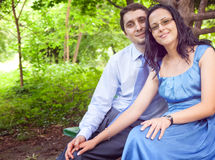 Portrait of romantic cute couple outdoor Royalty Free Stock Photo