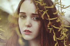 Portrait of a romantic girl with red hair in the wind under a willow tree. stock photography