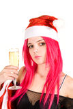 Portrait of a romantic Mrs. Santa with champagne stock image