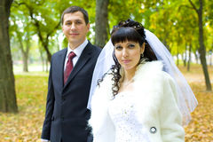 Portrait of romantic newlyweds Royalty Free Stock Images
