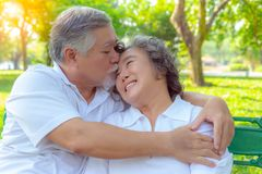 Portrait romantic older couple. Attractive handsome older husband embracing and kissing his older wife with love. Grandfather and royalty free stock photos
