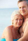 Portrait Of Romantic Senior Couple On Beach Royalty Free Stock Photography