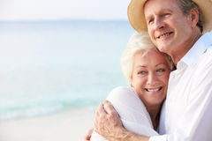 Portrait Of Romantic Senior Couple On Beach Royalty Free Stock Photo