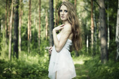 Portrait of romantic woman at fairy forest. Shooting on the nature Stock Image