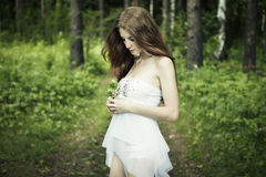 Portrait of romantic woman at fairy forest. Shooting on the nature Stock Images