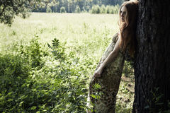 Portrait of romantic woman at fairy forest stock image