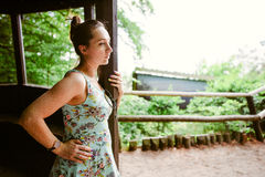 Portrait of romantic woman at fairy forest Royalty Free Stock Photo