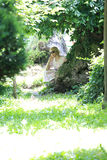 Portrait of romantic woman in fairy forest Royalty Free Stock Image