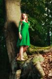 Portrait of romantic woman at fairy forest Stock Photography