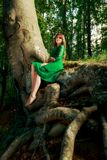 Portrait of romantic woman at fairy forest Royalty Free Stock Images