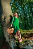 Portrait of romantic woman at fairy forest Stock Photo