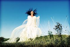 Portrait of romantic woman on field Royalty Free Stock Photos