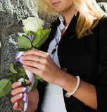 Portrait of romantic woman with flowers Stock Photo
