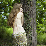Portrait of romantic woman at the green forest stock photos