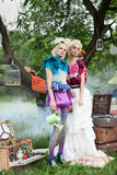 Portrait of romantic women in fairy forest Royalty Free Stock Photos