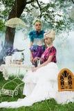 Portrait of romantic women in fairy forest Stock Photos