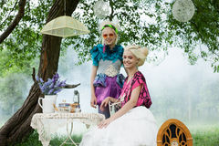 Portrait of romantic women in fairy forest Stock Image