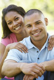Portrait Of Romantic Young African American Couple In Park Royalty Free Stock Photography
