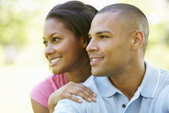 Portrait Of Romantic Young African American Couple In Park Stock Photography