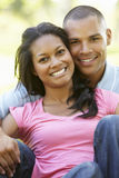 Portrait Of Romantic Young African American Couple In Park Stock Images