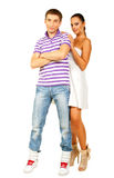 Portrait of romantic young couple. Hugging each other on white background Royalty Free Stock Images