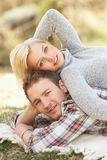 Portrait Of Romantic Young Couple Lying On Grass Stock Image