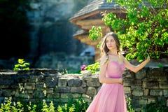 Portrait romantique de jeune femme dans la robe rose bien aérée sur un fond de campagne Photographie stock libre de droits