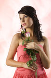 Portrait with rose Stock Image