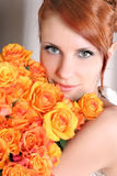 Portrait with roses Royalty Free Stock Images