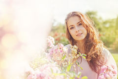 Portrait with roses stock images