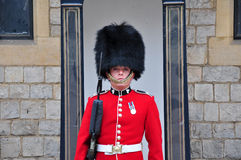 Portrait of royal guard. A royal guard on duty at Windsor Castle, England, UK Royalty Free Stock Photos