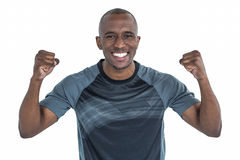 Portrait of rugby player cheering after success in game Royalty Free Stock Images