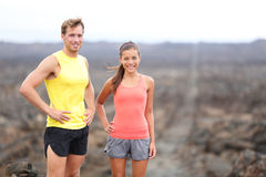 Portrait of runner couple resting after running royalty free stock images