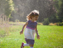 Portrait of running little girl Stock Photography