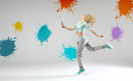 Portrait of running and painting woman Royalty Free Stock Images