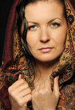 Portrait Russian attractive woman with shawl Stock Photos