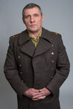 Portrait of Russian military officer. In greatcoat Royalty Free Stock Image