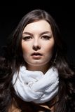 Portrait of russian woman on dark background stock photos