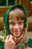 Portrait of a russian woman in a scarf Stock Photography