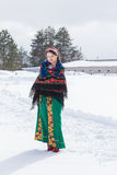 Portrait of Russian woman in a winter day. Stock Photo